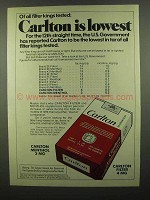 1974 Carlton Cigarettes Ad - Lowest