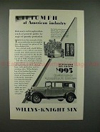 1928 Willys-Knight Standard Six Coach Car Ad - Triumph!