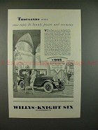1928 Willys-Knight Standard Six Coach Car Ad - Power!