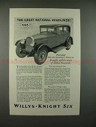 1928 Willys-Knight Car Ad - Great Natural Headliner!!