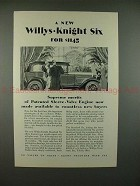 1928 Willys-Knight Six Car Ad - A New Six for $1145!!