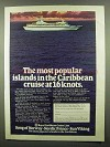 1974 Royal Caribbean Cruise Line Ad - in the Caribbean