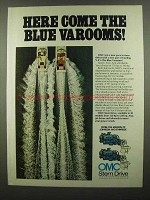 1974 OMC Stern Drive Ad - Here Come Blue Varooms