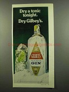 1974 Gilbey's Gin Ad - Dry a Tonic Tonight