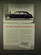 1941 Lincoln Custom Car Ad - The Most Individual!!