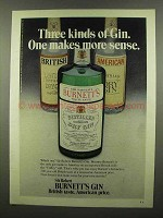 1974 Burnett's Gin Ad - One Makes More Sense