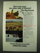 1974 United Air Lines Ad - Hawaii The Big Island