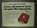 1974 Carlton Cigarettes Ad - Still Lowest in Tar