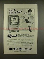 1951 GE Black-Daylight Television TV Ad w/ Bob Feller!!