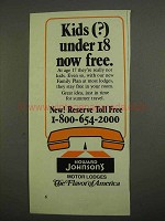 1974 Howard Johnson's Motor Lodges Ad - Kids Under 18