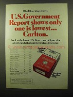 1975 Carlton Cigarettes Ad - U.S. Government Report