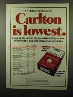 1975 Carlton Cigarettes Ad - Of All Filter Kings