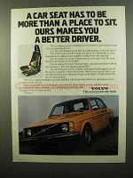 1975 Volvo Car Ad - More Than a Place to Sit