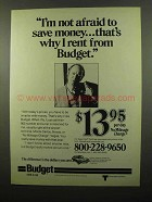 1975 Budget Rent-a-Car Ad - Not Afraid to Save Money