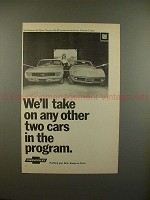 1969 Chevrolet Camaro SS Sport Coupe, Corvette Coupe Ad - We'll Take On