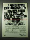 1975 Pitney Bowes Mailing Systems Ad - Hands to Spare