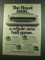 1975 Royal 5000 Typewriter Ad - A Whole New Ball Game