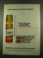 1975 Ban Roll-On Deodorant Ad - 15 Good Reasons