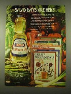 1975 Kraft Safflower Oil Ad - Salad Days are Here!