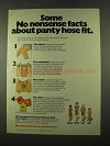 1975 No Nonsense Panty Hose Ad - Facts About Fit