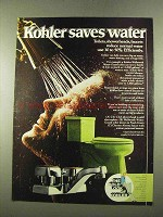 1975 Kohler Ad - City Club Showerhead, Wellworth Toilet