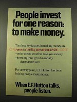 1975 E.F. Hutton Ad - People Invest for One Reason