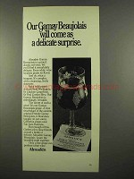 1975 Almaden California Gamay Beaujolais Wine Ad