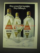 1975 Gilbey's Gin Ad - Dry a Martini Tonight