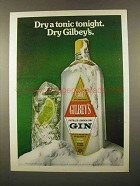 1975 Gilbey's Gin Ad - Dry a Tonic Tonight
