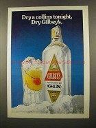 1975 Gilbey's Gin Ad - Dry a Collins Tonight