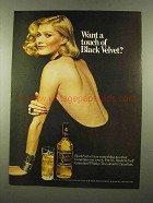 1975 Black Velvet Canadian Whisky Ad - Want a Touch?
