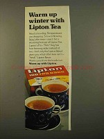1975 Lipton Tea Bags Ad - Warm Up Winter