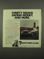 1975 Thrifty Rent-a-Car Ad - Saving Money and More