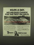 1975 Thrifty Rent-a-Car Ad - $13.95 a Day