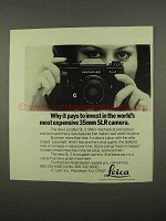 1975 Leica Leicaflex SL-2 Camera Ad - Pays to Invest