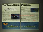 1975 2-page Exxon Oil Ad - The Trans-Alaska Pipeline