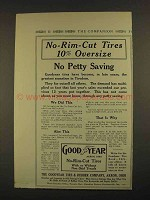 1913 Goodyear No-Rim-Cut Tires Ad - No Petty Saving
