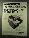 1977 Pitney Bowes PBC Copier Ad - A Shot at Xerox