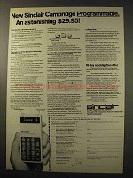 1977 Sinclair Cambridge Programmable Calculator Ad