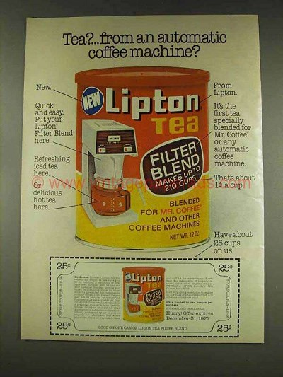 1977 lipton tea filter blend ad from coffee machine. Black Bedroom Furniture Sets. Home Design Ideas