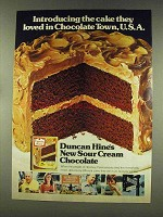 1977 Duncan Hines Sour Cream Chocolate Cake Ad