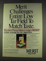 1977 Merit Cigarettes Ad - Challenges Low Tar Field
