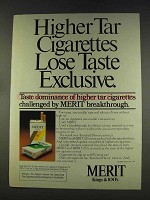 1977 Merit Cigarettes Ad - Highter Tar lose Taste