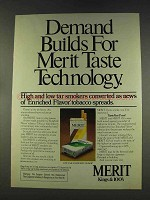 1977 Merit Cigarettes Ad - Demand Builds for Taste