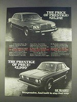 1977 Subaru Car Ad - The Price of Prestige