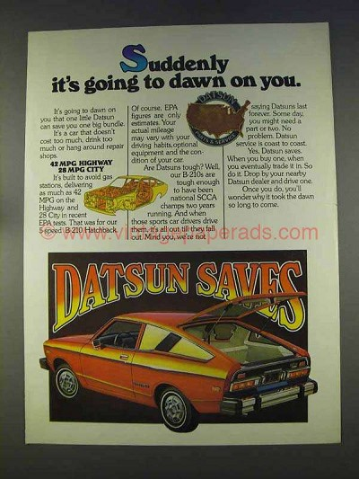 1977 Datsun B-210 Hatchback Ad - Dawn on You
