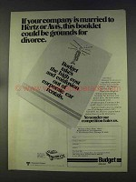 1977 Budget Rent a Car Ad - Grounds for Divorce