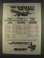1977 Braniff Airline Ad - The Schedule's The Thing
