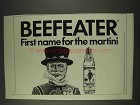 1977 Beefeater Gin Ad - First Name for the Martini