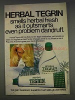 1977 Herbal Tegrin Shampoo Ad - Outsmarts Dandruff